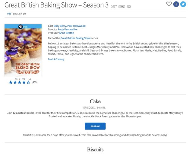 A TV show available to check out on Hoopla