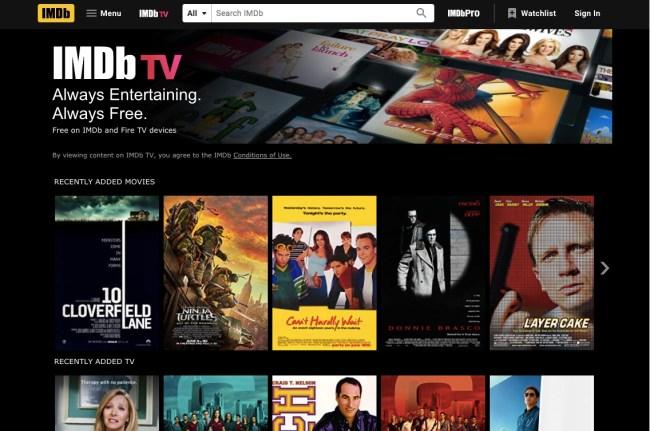 IMDbTV homescreen