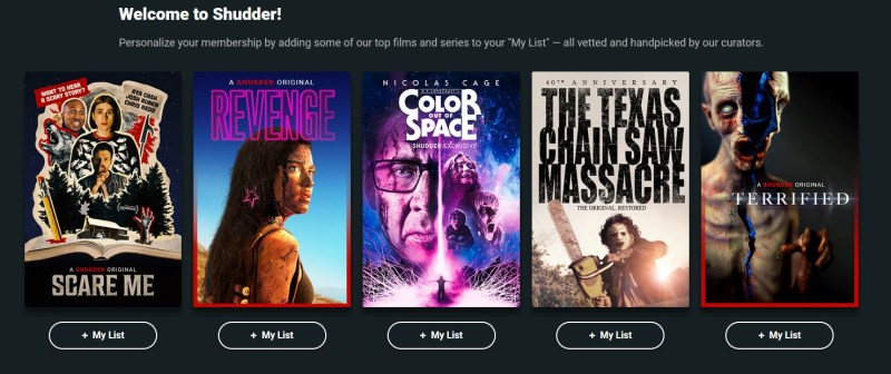 Shudder allows you to customize your experience by picking content you like.
