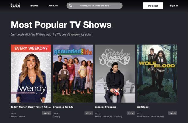 Tubi most popular TV shows website