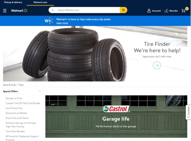 Walmart Tire Center homepage
