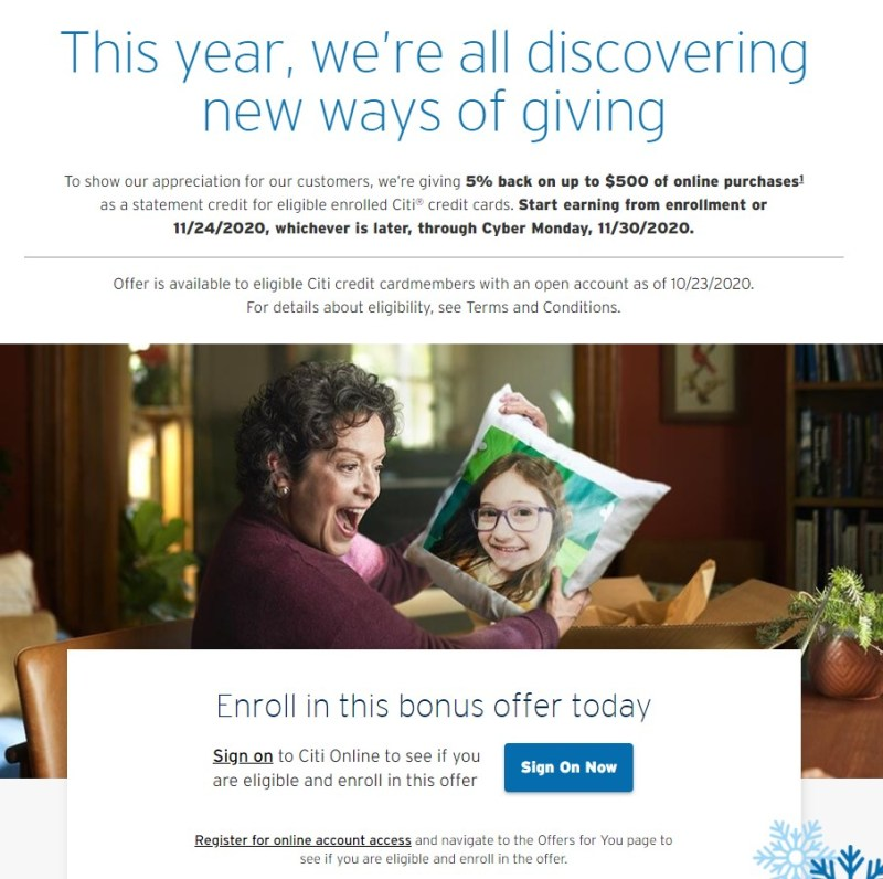 The Citi Holiday Bonus offer is for a week in November.