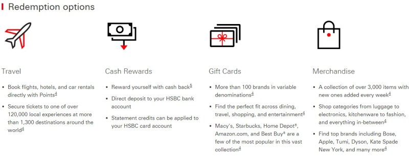 HSBC has a variety of redemption options for its cash back rewards.