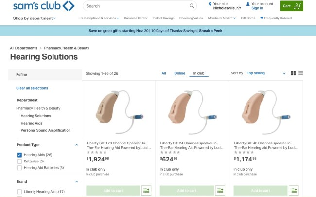 Sam's Club Hearing Aids website