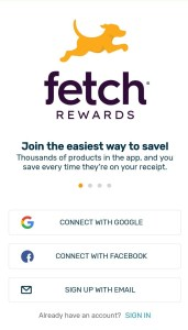 Fetch Rewards create account and login page where you can use a Google account, Facebook login or email and password to make a Fetch Rewards account.