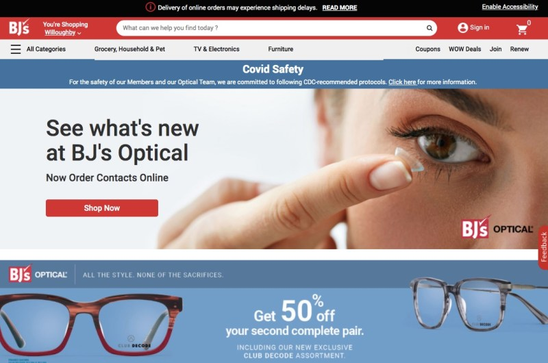 BJ's Optical website