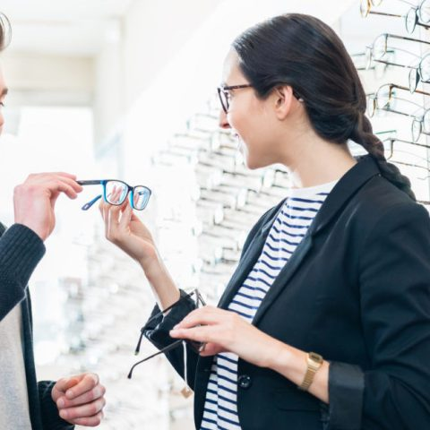 Buying glasses in store