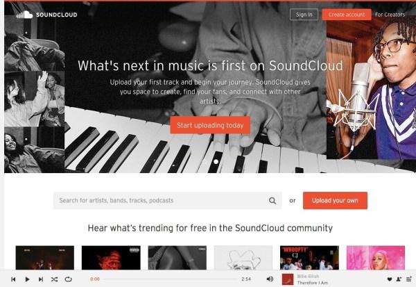 SoundCloud royalty-free music website screenshot