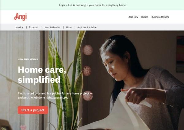 Angi Homeservices homepage