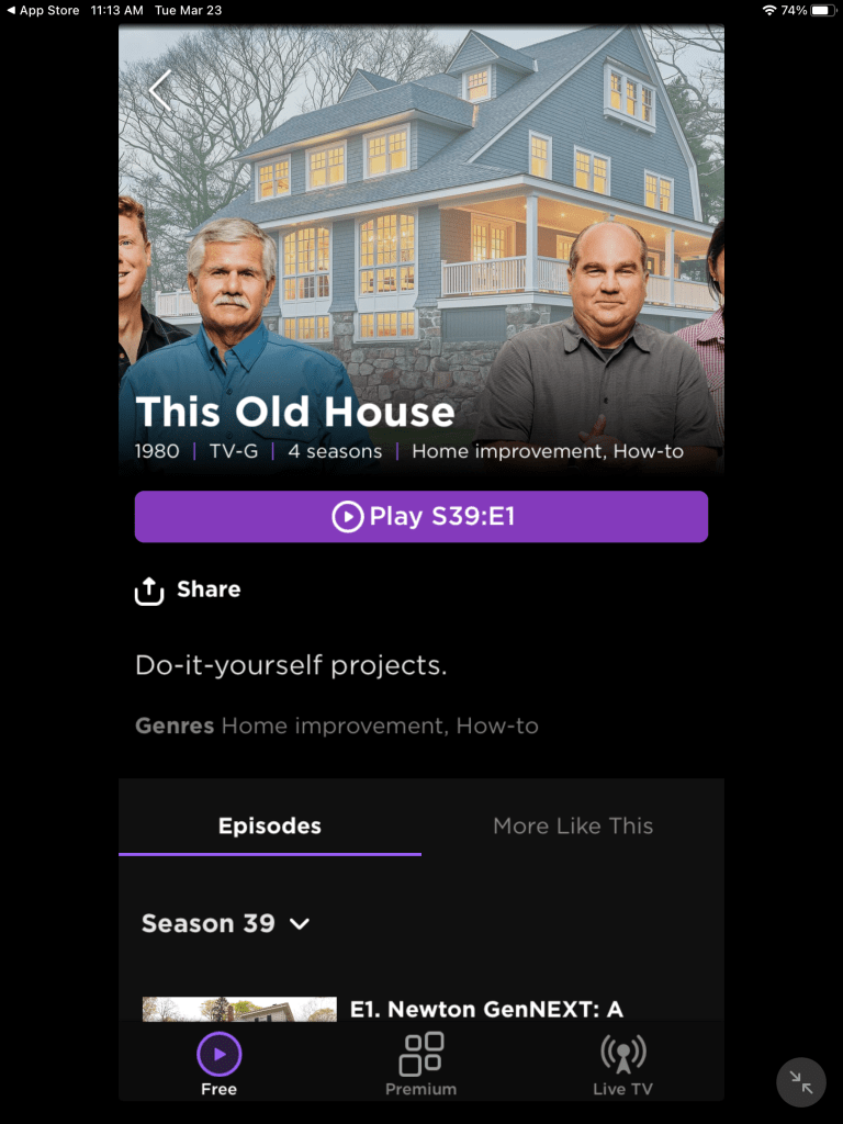 This Old House on The Roku Channel via iPad app