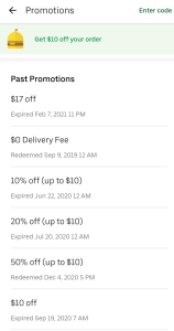 Check promotions in Uber Eats