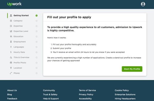 Upwork profile application
