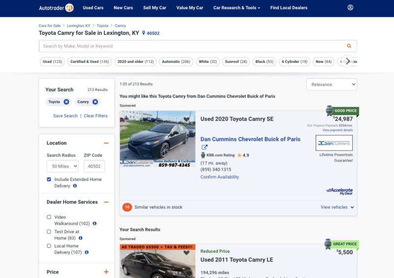 Autotrader - search results for a Toyota Camry