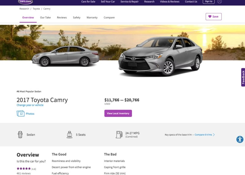 The overview of a car provided by the research feature on Cars.com