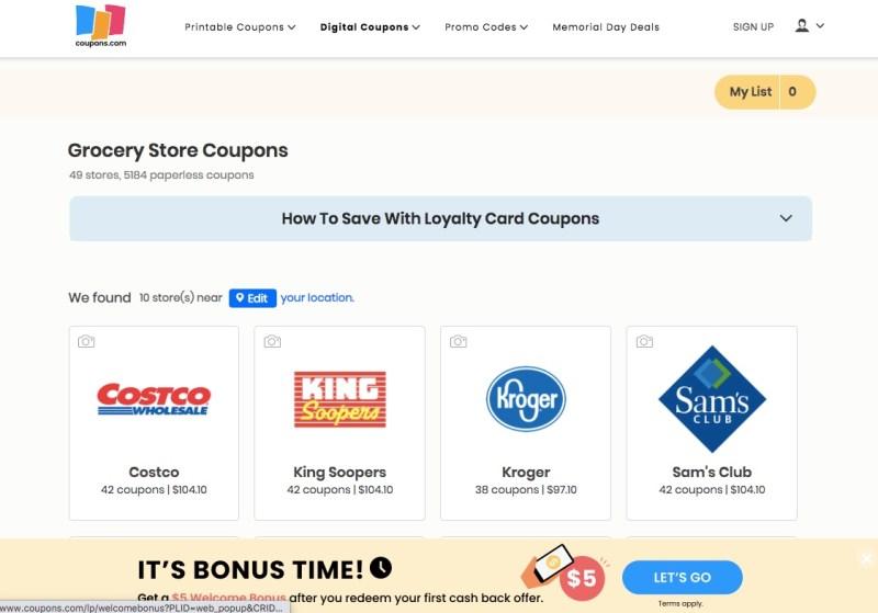Digital coupons on Coupons.com