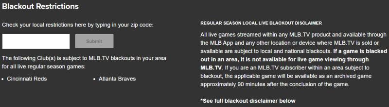 MLB.TV blackout restrictions