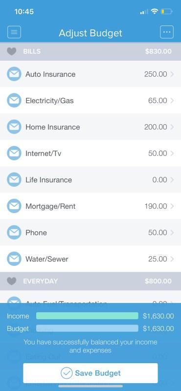 Adjusting your budget in Mvelopes