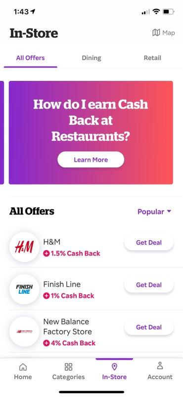 Rakuten's in-store cash back offers