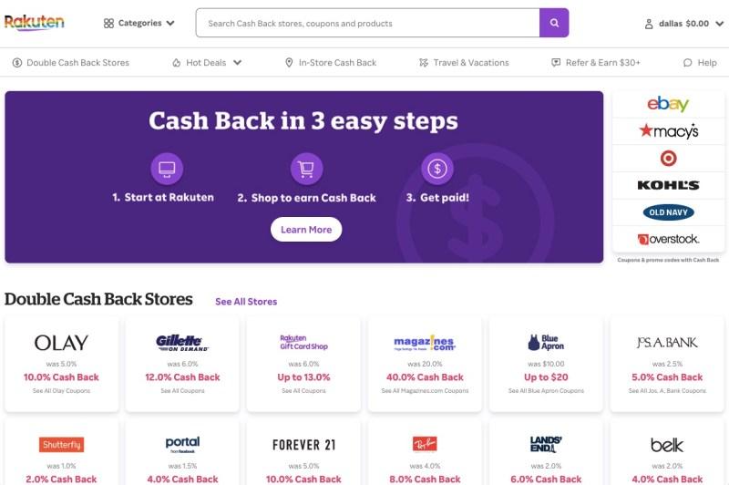 Rakuten's website homepage with featured deals