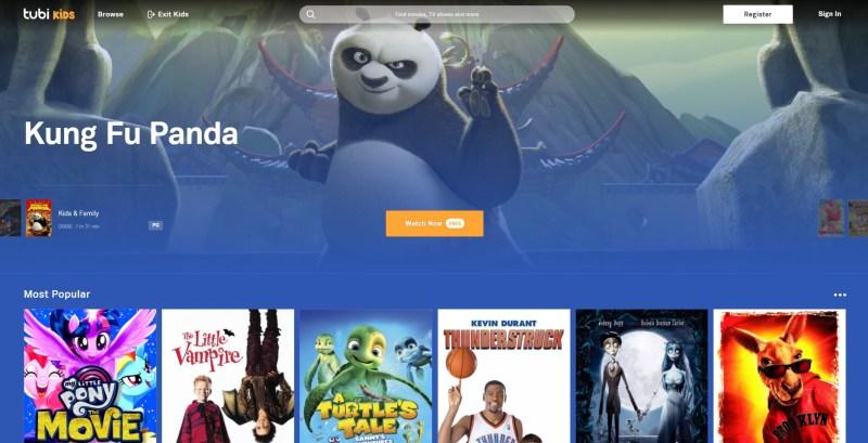 Tubi Kids menu screen