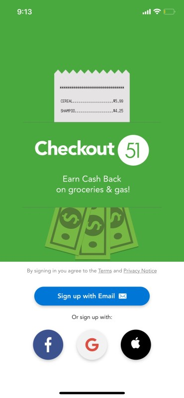 Signing up for Checkout 51 on the iPhone app