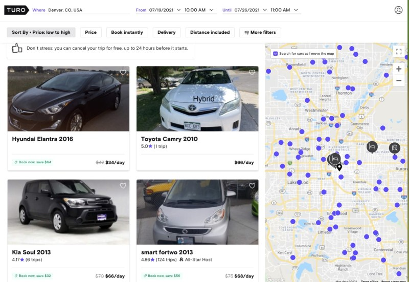 Search results for a car in Denver on Turo