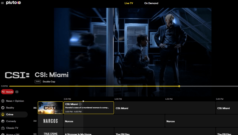 Pluto TV streaming menu