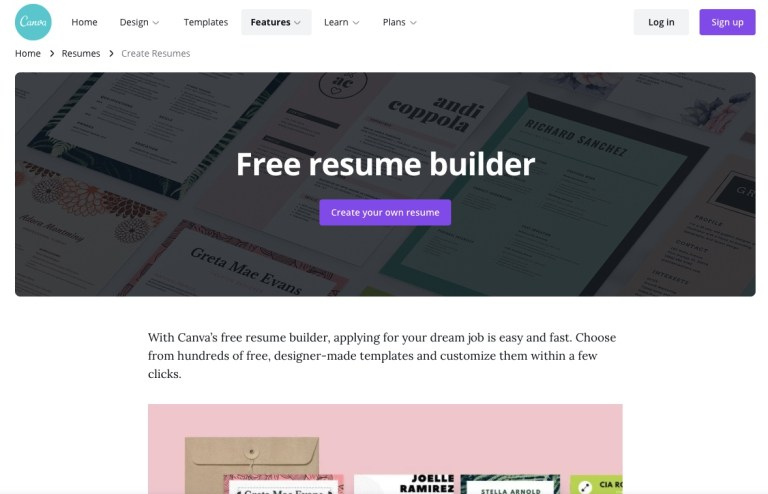 Canva Resume Builder