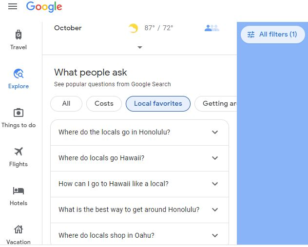 What People Ask feature in Google Flights