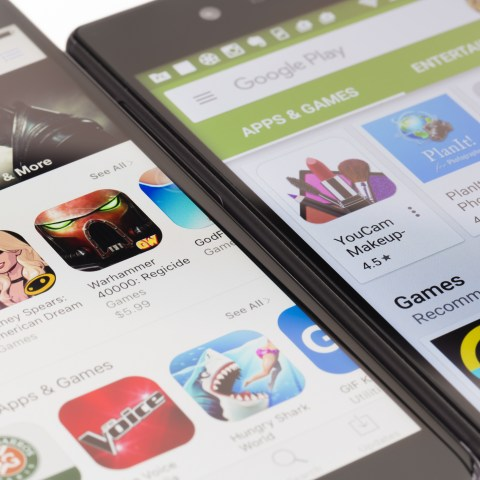Google Play store and Apple App Store on mobile phones