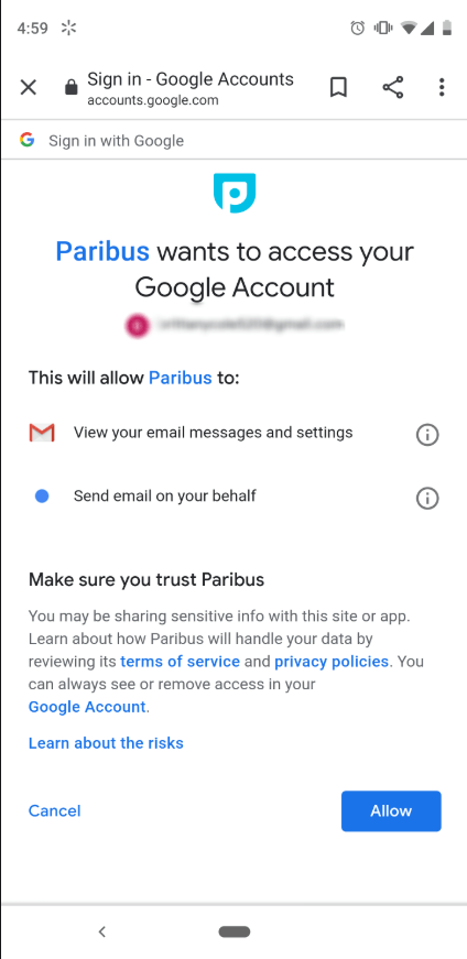 Paribus access to email account