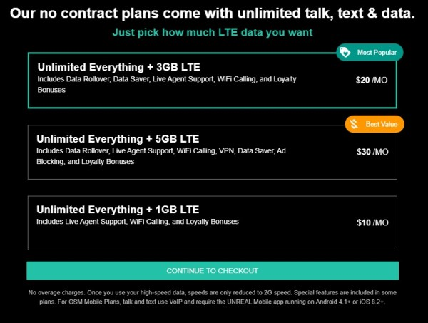 Unreal Mobile data plans