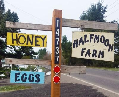 The Half Moon Farm sign, as seen from 159th St. in Brush Prairie. Photo credit: Monika Spykerman