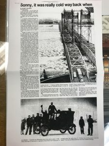 History of Columbia River Frozen Columbia River Newspaper Article