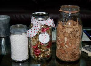 Downtown Camas Association Candy guessing jar at the mill between chips and pulp