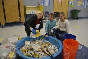 Recylce audit at Gause Elem WSD Superintendent Mary Templeton and Sophia and Stella Genova