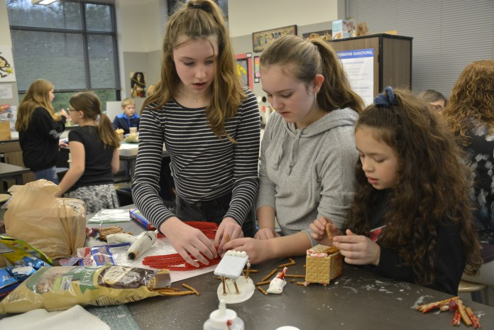 Jemtegaard Middle School Gingerbread project 6th graders Paige Prynn, Samantha Gifford, Taylor Cotton, not pictured Madison Swanson