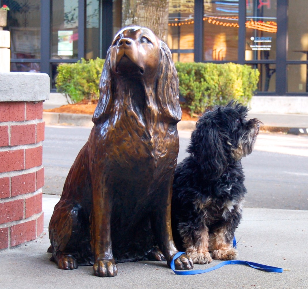 dowtown camas association Millie the bronze dog and friend Arlo