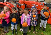 Hathaway Kindy students at playground pumpkin patch