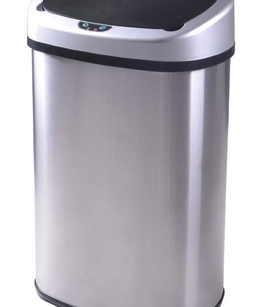 13-gallon touch-free stainless-steel trash can for $28