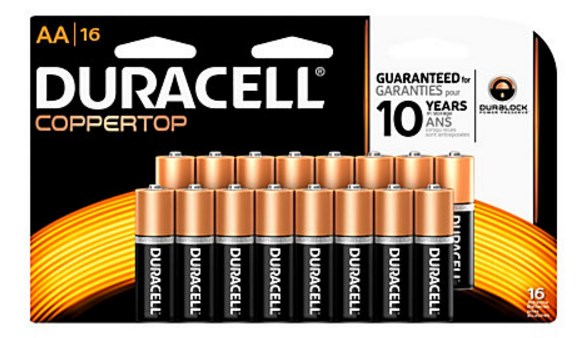16-pack Duracell Coppertop Alkaline AAA or AA batteries for FREE after rewards