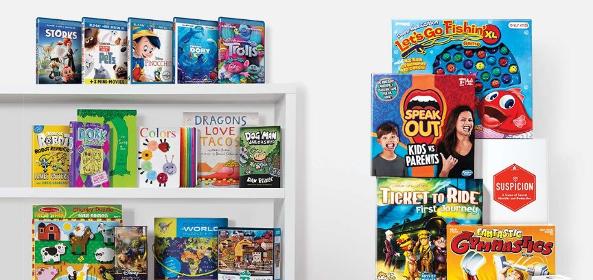 Buy two, get one free board games, books, puzzles and movies at Target