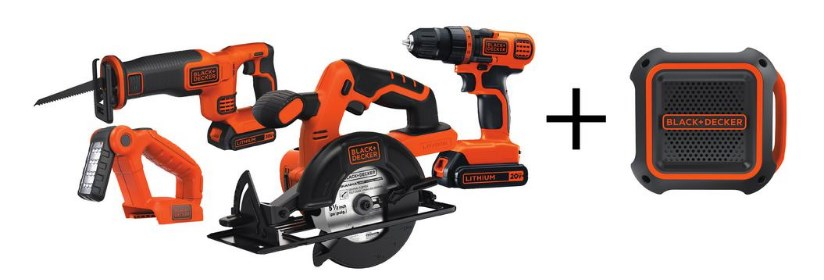 Black & Decker 20-volt MAX lithium-ion cordless 4-tool kit for $119 today