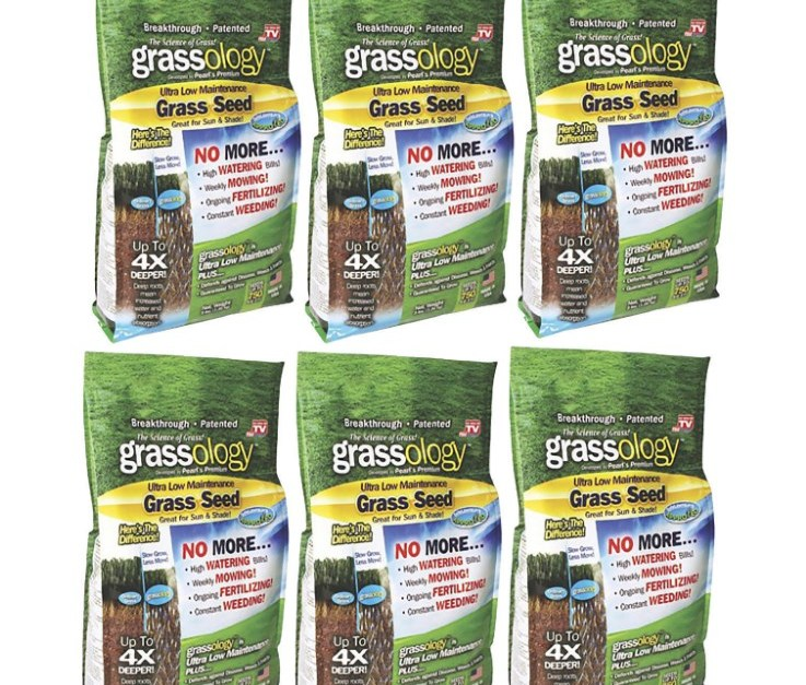 Grassology grass seed, case of six 3-lb bags for $22 shipped
