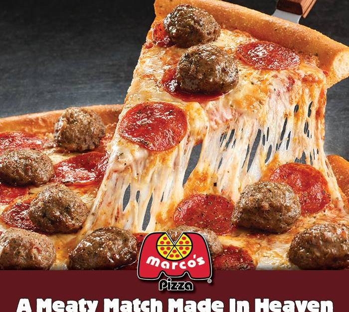 Free Medium Zesty Meatball & Pepperoni Pizza at Marco's Pizza today via app