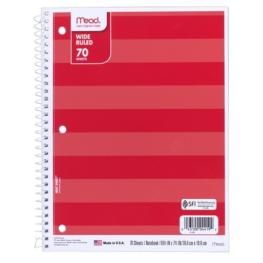 Mead wide ruled 70 sheet notebooks for $0.38