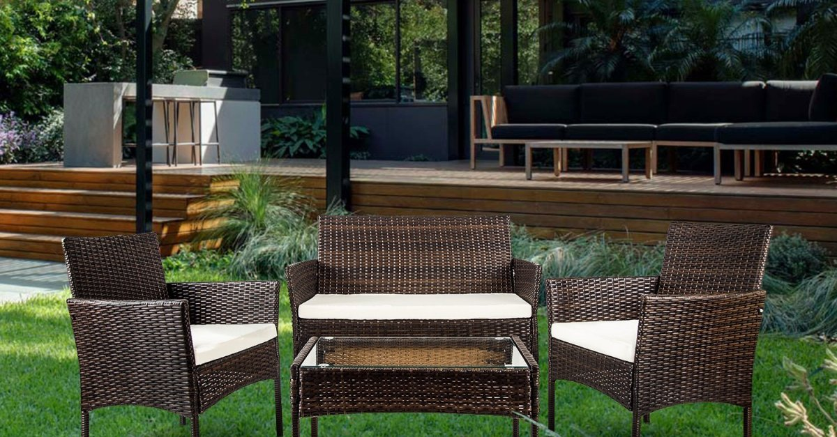 4-piece Merax outdoor cushioned furniture set for $156