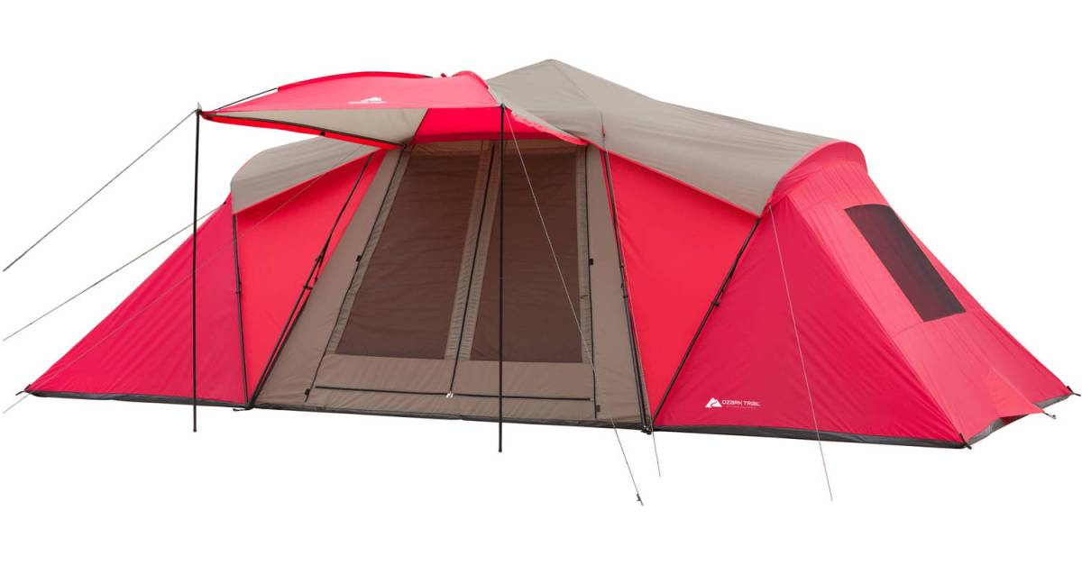 Ozark Trail 12-person 21′ x 10′ 3-room instant tent with awning for $100