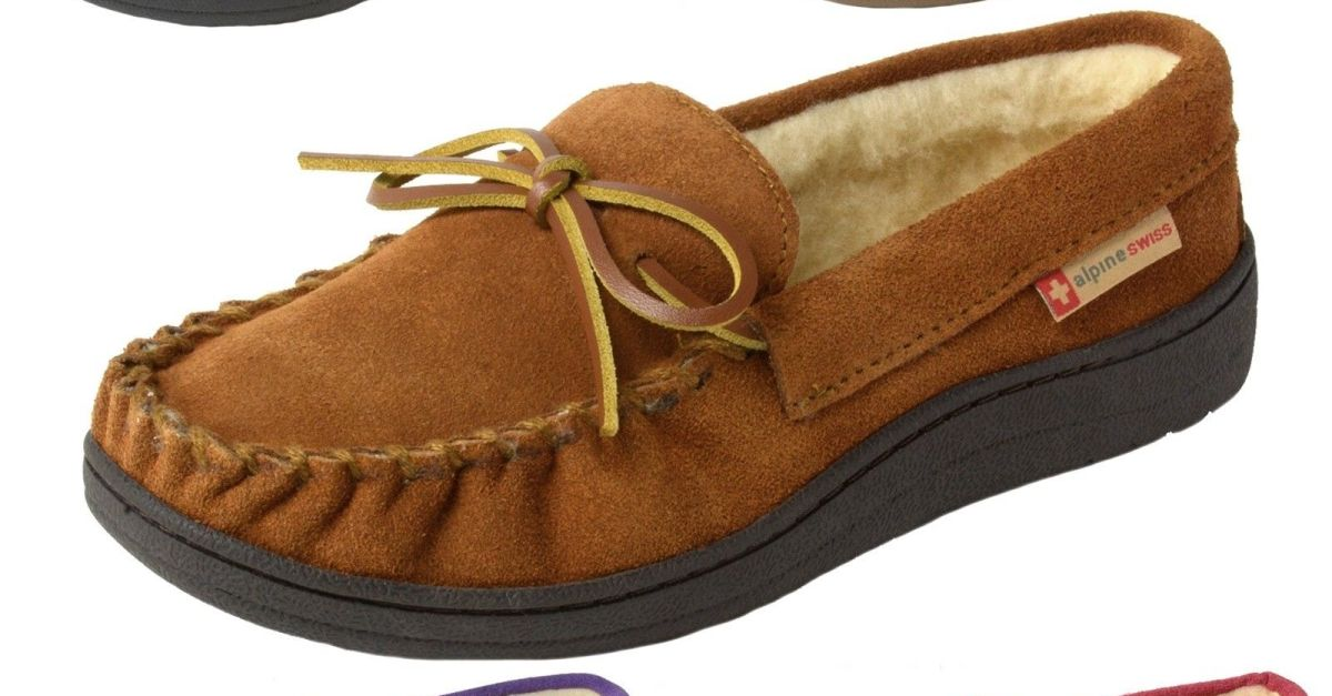 14e99b4be Alpine Swiss women's suede shearling moccasin slippers for $15, free  shipping