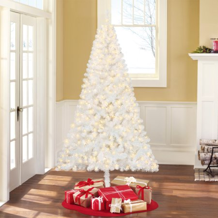 Holiday Time pre-lit 6.5′ Madison Pine white artificial Christmas tree for $20, free shipping